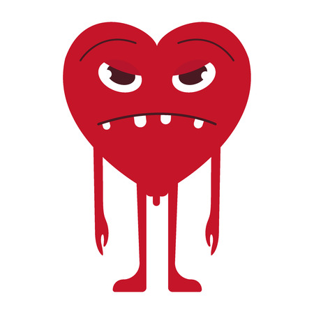 Sad Heart Smile Emoticon. Unhappy Heart Emoji. For 14th of February. For Saint Valentine s Day. Isolated Vector Illustration on White Background. Vector flat icon eps10 Ilustração