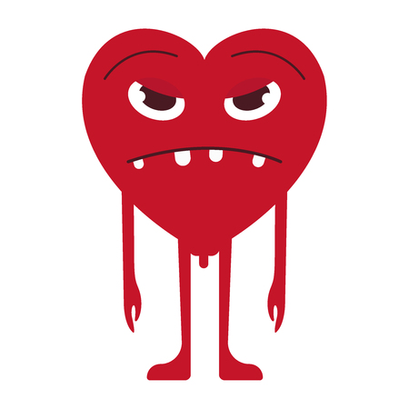 Sad Heart Smile Emoticon. Unhappy Heart Emoji. For 14th of February. For Saint Valentine s Day. Isolated Vector Illustration on White Background.