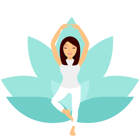 Young woman doing yoga exercise tree pose vector illustration