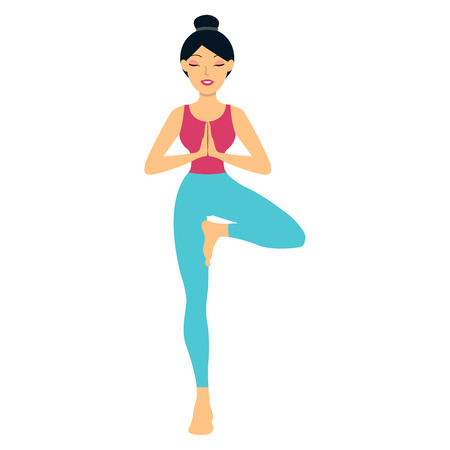 Sports girl is smiling while doing yoga. Young woman doing yoga exercise tree-pose. Young woman meditating, doing yoga pose and asana. Fitness girl enjoying yoga indoors in sport clothes, concept working out in gym class. Health and healing concept.