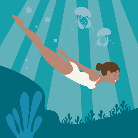 A young girl swims under the water. Woman in the ocean, bottom of the ocean reef. The girl is swimming with jellyfish. Model in a swimsuit. Concept, nature, diving, sport, vacation. Illustration