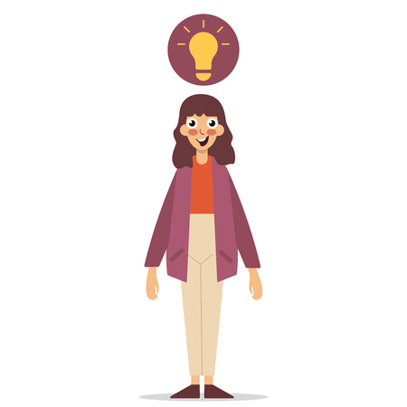 Idea Concept. Aha moment. The girl is standing in front of a white background. Young smiling nerd bulb flat editable vector illustration flat icon eps10  イラスト・ベクター素材