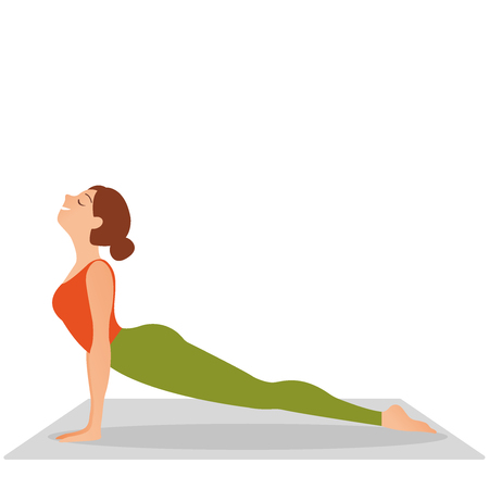 Young indonesian woman meditating, doing yoga pose and asana. doing cobra asana, bhudjangasana Seal - yin yoga variation , working, sportswear, studio, full length, side view Fitness girl enjoying yoga indoors in sport clothes, working out in gym class. Health and healing concept. Flat icon eps10 illustration vector art 일러스트