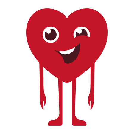 smiley welcomes, the heart stands and winks at the eye. The character is smiling. Cartoon red Heart wink. Emoticons. Smiley. Emoji. Love Emotion symbol. Design element for Happy Valentines Day greeting card, kids coloring book page, t-shirt print, icon, logo, label, patch, sticker. Vector flat icon eps10 illustration Ilustração