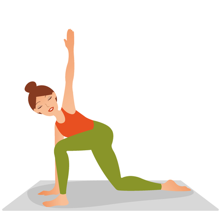 Concept sport, yoga, health. Young woman practicing yoga, stretching in Utthita parsvakonasana exercise, Extended Side Angle pose, working out, wearing sportswear, tank top, pants, indoor full length, studio background. Vector flat icon logo illustration eps10 Illustration