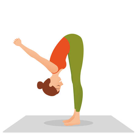 Young indonesian woman meditating, doing yoga pose and asana. Fitness girl enjoying yoga indoors in sport clothes, working out in gym class. Health and healing concept. Flat icon eps10 illustration vector art