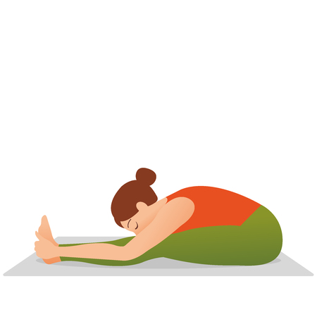 Young indonesian woman meditating, doing yoga pose and asana. Fitness girl enjoying yoga indoors in sport clothes, working out in gym class. Health and healing concept. Flat icon eps10 illustration vector art. young beautiful woman doing stretching exercise on yoga mat isolated on white background