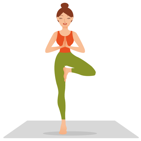 Sports girl is smiling while doing yoga. Young woman doing yoga exercise tree-pose. Young woman meditating, doing yoga pose and asana. Fitness girl enjoying yoga indoors in sport clothes, concept working out in gym class. Health and healing concept. Flat icon eps10 illustration vector art