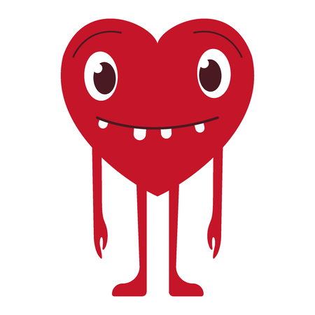 Vector illustration of red smiling heart on white background. Art design for Valentine s Day greetings and card, web, banner, poster, flyer, brochure, print. Flat icon eps10