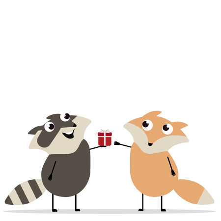 Happy birthday Greeting card funny raccoon girl gives gift to boy fox for birthday. Exchange of gifts. Concept gift, zoo, care, animals, surprise, holiday, fete, rejoicing. Vector illustration eps10 i 일러스트