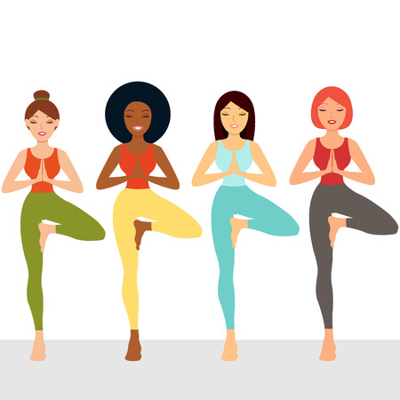 Attractive girls stand on white background. Group of people doing yoga. Multi ethnic women set. Woman standing in a yoga pose, yoga teacher, concept sport, club, gym, school, health, hobi, beauty. Vector icon illustration eps10 logo Illustration