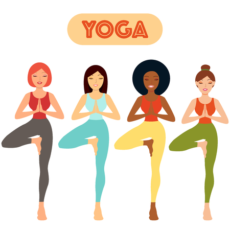 Attractive girls stand on white background. Group of people doing yoga. Multi ethnic women set. Woman standing in a yoga pose, yoga teacher. Asian, European, Afro, Caucasian. Concept sport, club, gym, school, health, hobi, beauty. Çizim