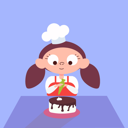 Little cook, the child is cooking. Cake making. Woman decorating chocolate cake in the kitchen. Baker. Concept, cooking, cook confectioner sweets cafe. Vector logo flat illustration eps10