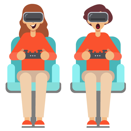 Pop Art Couple Playing Video Game at Home. Girl and Guy with Console Joystick. Man and woman use virtual reality glasses with controllers. Vector illustration. Young man and a girl playing game at home, playthrough or walkthrough video. Stylish guy is surprised with one intresting game in vr. He is wearing eyeglasses. Virtual reality glasses gamer young girl playing game Sit Armchair Cartoon Character Flat Design Vector flat illustration eps10.