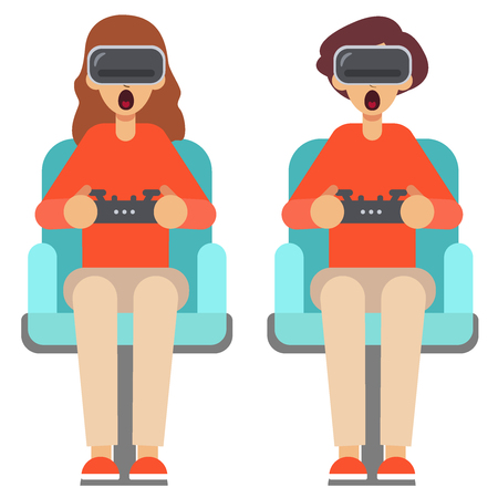 Two players sit on armchairs in the helmet of virtual reality. Pop Art Couple Playing Video Game at Home. Girl and Guy with Console Joystick. Man and woman use virtual reality glasses with controllers. Playthrough or walkthrough video. Stylish guy is surprised playing game Sit Armchair Cartoon Character Flat Design Vector flat illustration eps10.