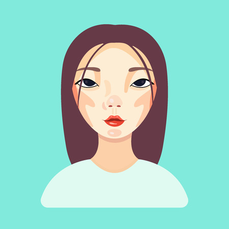 Attractive woman. Beautiful girl is looking into the camera. Young model posing on blue background. Skin Care, spa salon, health and healing concept makeup. Vector flat illustration eps10