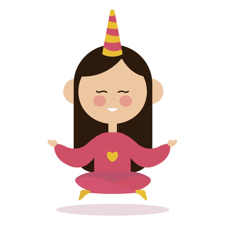 Young girl doing yoga. Woman practicing yoga performing lotus position outdoors with closed eyes. Ilustración de vector