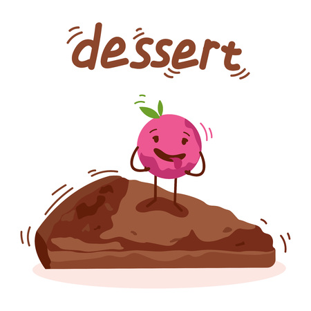 Chocolate fudge brownie icecream. Cake with ice cream in chocolate, detailed. Cute character dessert. Banner logo text. Vector illustration eps10 flat icon art