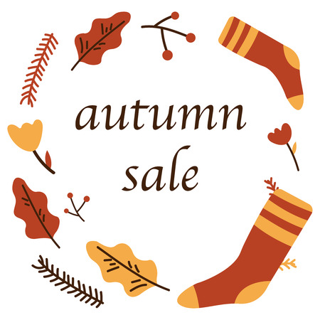 Clothes socks hat, flowers, tree, leaves. Autumn sale poster of discount promo web banner for autumnal seasonal shopping of maple leaf, berry or oak acorn and mushroom. Vector design template 50 percent shop offer template advertising vector illustration flat icon eps10
