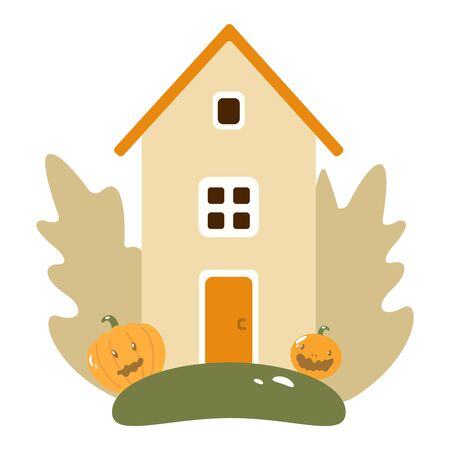 Fantasy boot cottage on a colorful meadow with ivy and pumpkins. Autumn Landscape House, Pumpkins, Leaves, Tree. Flat Design Style. Cute house with pumpkins. Smiling pumpkin. Poster, banner or background for Halloween Party night with haunted house. Big house. Vector flat illustration eps10
