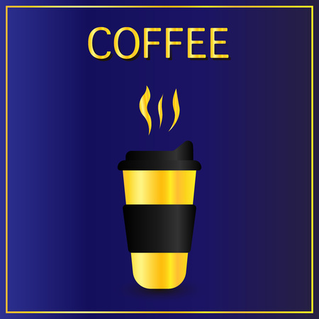 Cofee cup icon flat. Simple gold pictogram on dark background. Vector illustration symbol. Golden coffee mug with steam in luxurious design style. Vector illustration Paper coffee cup. Vector realistic illustration of coffee golden cup with black cap. Package mockup design for branding eps10