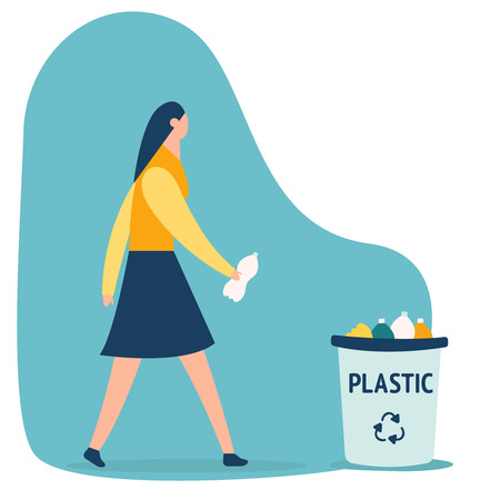 Caucasian person girl throwing a plastic bottle waste in garbage bin. Isolated flat vector trash illustration on white background. Rubish recycling concept. Woman with trash vector illustration. Keep clean and garbage sorting concept. Eps10 flat icon Ilustração