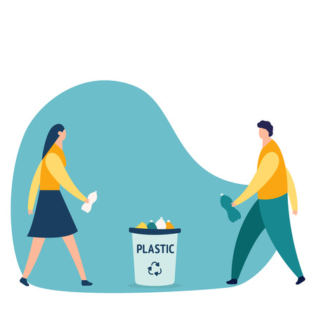 Caucasian person man throwing a plastic bottle waste in garbage bin. Rubish recycling concept. Woman with trash. Keep clean and garbage sorting concept. Vector creative illustration of business graphics, the employee is engaged in the processing of garbage, flat colored icons, protection of the environment, small people are throwing garbage. Flat icon eps10