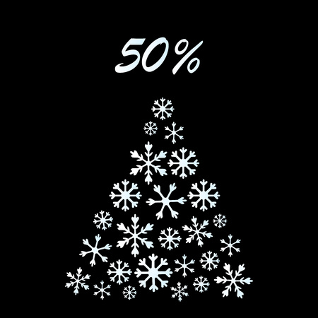 Christmas Greeting Card With Christmas Tree made of cutout paper stars and snowflakes. Abstract Christmas tree on black background. Christmas sale banner. Special offer, discount type text, 50 off. Xmas lights, star, snowflake tree, garland string decoration. Vector illustration