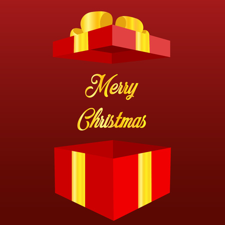 Magic gift box with a big surprise. Open gift box with text Merry Christmas and Happy New Year holiday. concept of prize or bonus for customer and promo giftbox for ecommerce. cartoon simple style trend modern logotype graphic design isolated on red background Vector illustration eps10