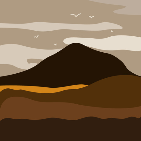 Breathtaking lansdcape of Austrian countryside on sunset. Dramatic sky over idyllic fields of Anstrian Central Alps on early autumn evening. Illustration vector flat eps10