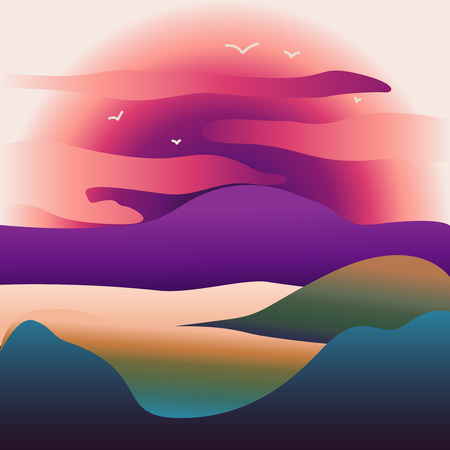 Vector illustration of mountain landscape with forest and flying birds under cloudy sky with dawn Abstract image of a sunset or dawn sun over the mountains at the background and river or lake at the foreground. Mountain landscape. eps10