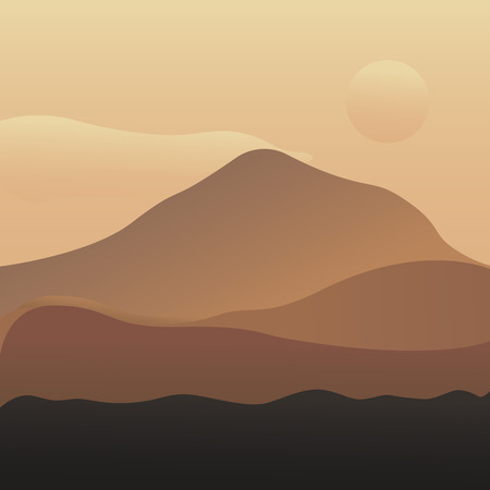 Vector illustration of mountain landscape with forest and cloudy sky with dawn. Breathtaking lansdcape of Austrian countryside on sunset. Dramatic sky over idyllic fields of Anstrian Central Alps on early autumn evening. Illustration vector flat eps10 Illustration