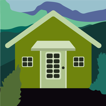 Country house in the forest. Farm in the countryside. Cottage among trees. Cartoon vector illustration. Beautiful villa with wide backyard and decorative outdoor lighting, external view vector flat