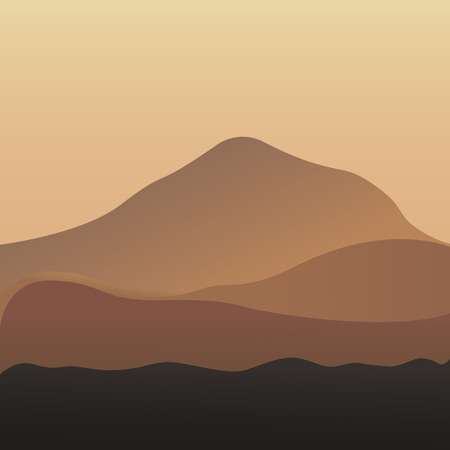 Desert dunes vector egyptian landscape background. Sand in nature. Breathtaking lansdcape of Austrian countryside on sunset. Dramatic sky over idyllic fields of Anstrian Central Alps on early autumn evening. Illustration vector flat eps10