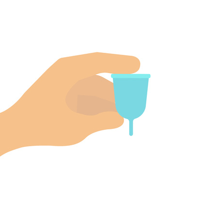 Close up of woman hand holding menstrual cup over blue on white background. Women health concept, zero waste alternatives, menstruation, care, eco, zero waste. Vector illustration icon logo flat eps10