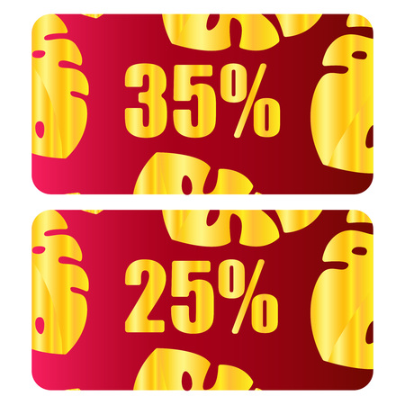 Discount Coupon, Voucher vector. Golden leaves layout template with red holiday bow, Abstract Christmas leaves background. Save money tag 35 off, 25 off. Promo voucher design, Gift card. Vector icon illustration eps10