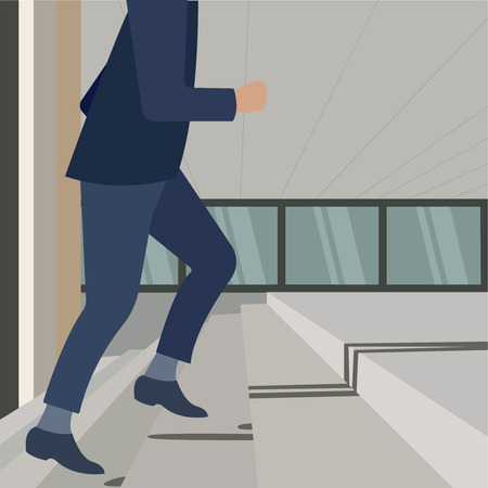 Businessman climbs the career ladder. Raise. Young handsome business man. Walking up the stairs going to work, determination, confidence, lifestyle, rush hour, grow up and successful concept. Vector illustration eps10 flat Banque d'images - 114493459