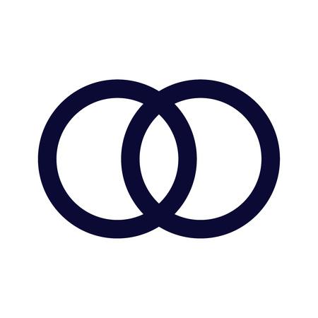 The United wedding ring icon. Marriage and glans symbol. Flat Vector illustration eps10 logo card Illustration