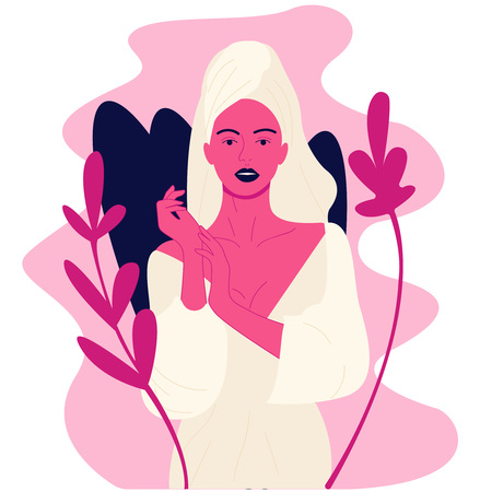 Creative illustration Attractive woman inflicts a mask cream on the arms, and looking into the camera. Young model posing on white background. Skin Care, spa salon, health and healing concept. Spa Girl. Beautiful Young Woman After Bath Touching Her arms. Perfect Skin. Skincare. Young Skin Vector flat illustration eps10 art