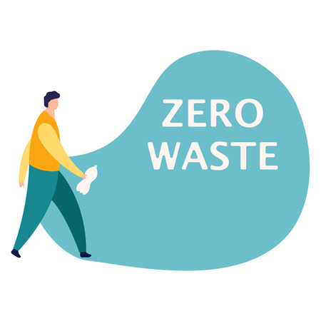 Guy cleans garbage. Man throw empty bottle into package. Boy takes care of environment vector illustration. Concept eco Zero waste. Flat eps10 Stockfoto