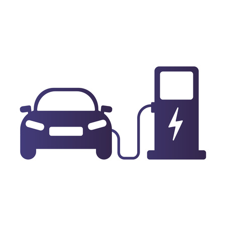 Electric car icon Vector Illustration. Electric car and charging station. Illustration eps10 vector icon
