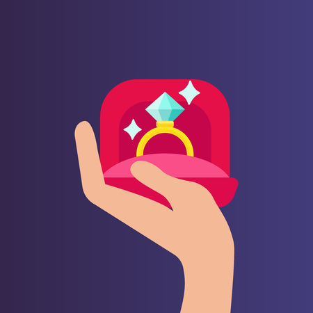 Hand holding a box with the ring. Flat design. Hands holding gift box with gold wedding ring. Proposal for marriage, matchmaking and betrothal. Flat vector cartoon illustration. Objects isolated on purple background. Vector icon Ilustração