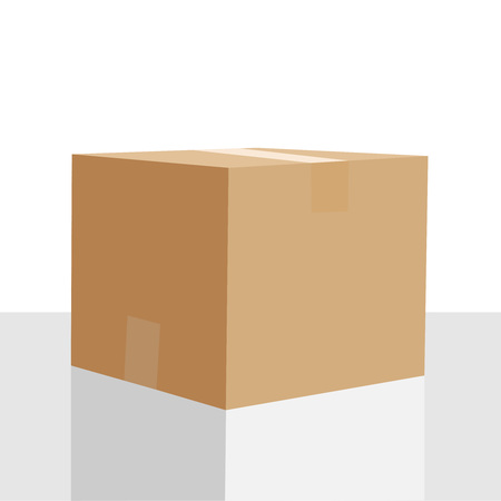 Closed cardboard box vector illustration isolated on white background. Empty closed box mockup, post container for goods delivery and storage, packaging design. Parcel with adhesive tape isometric icon vector isolated. Flat icon