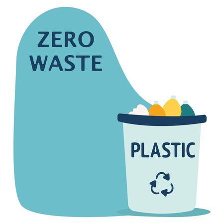Modernes Recycling-Plastikabfall-Mülleimer- und Müllobjekt-Illustrationsset, geeignet für Illustration, Buchgrafiken, Symbole, Spielassets und andere Aktivitäten im Zusammenhang mit dem Recycling. Blaue Mülltonne mit Plastikmüllelementen. Vektorgrafik