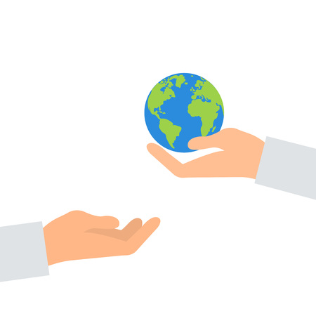 Concept of heritage earth for future generations. Adult pass hands globe in children s hands. Concept of protecting the planet. Hand holding planet. Concept ecology. Illustration vector flat icon eps10 eco