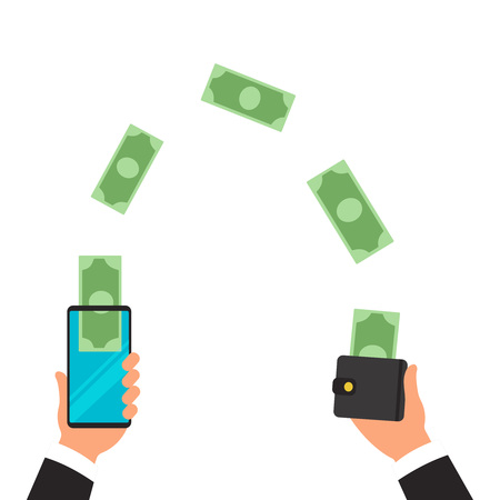 Money transfer from wallet into cellphone in isometric vector design. Digital payment or online cashback service. Mobile banking transaction concept. Withdraw money with smartphone. People sending and 일러스트