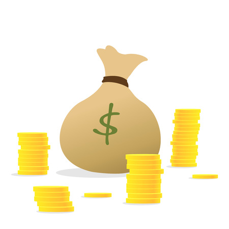 Money bag icon, Concept of Money like a bag, stack coins. Money bag and stacking gold coin. Money for loans to planned investment in the future concept. Illustration vector eps10 Ilustração