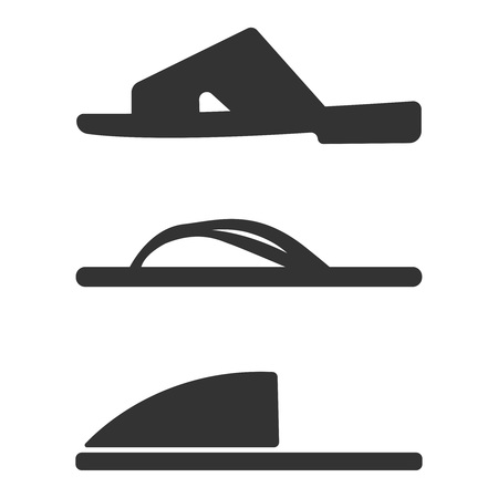 Slippers icon set. Simple set of slippers icons for web design isolated on white background. Vector fashion casual sandals Casual Sandals Vector fashion casual sandals for template. Concept tourism, summer footwear, store shop. Illustration eps10 flat icon