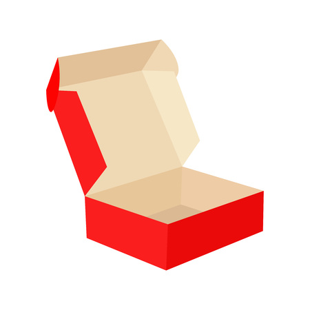 Red cardboard box isolated on white background. Open box. Close-up single carton box open empty. Parcel cardboard box for packages delivery. Vector icon flat eps10 Иллюстрация