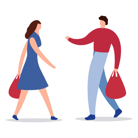 Happy family couple with shopping. Man with a grocery and a packages woman with the packages. Vector illustration of a flat design. People are engaged in holiday shopping. Girl buy gifts with bright packages. Vector icon eps10 Concept shop